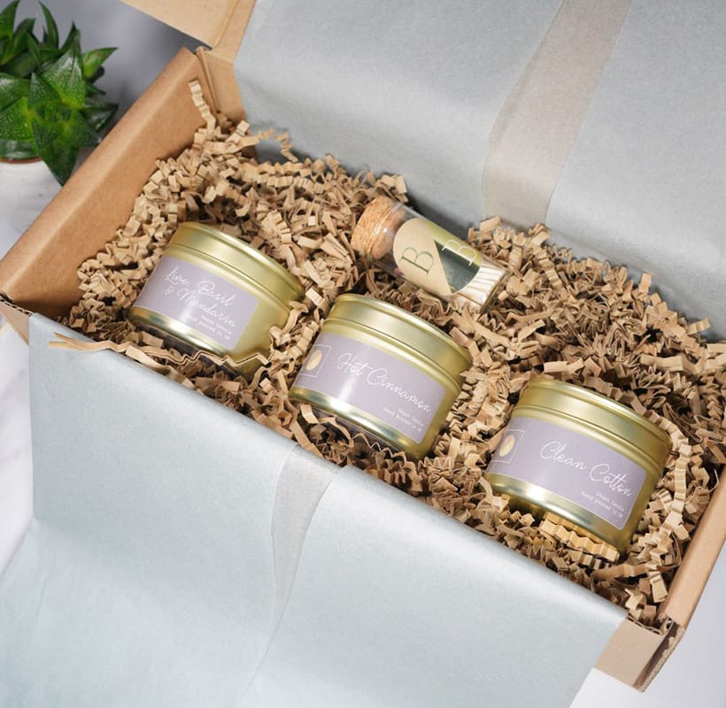 3 in a box candle set
