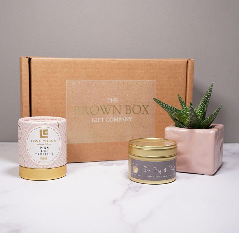 Love in a Box, Truffles, Succulent & Candle